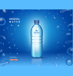 Bottle with clean mineral water on blue background vector