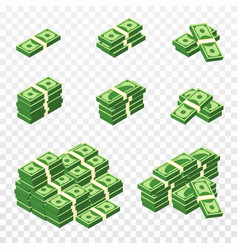 bunches money in cartoon 3d style set of vector image