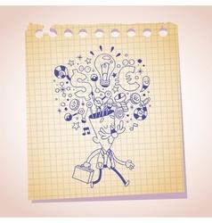 business idea concept note paper cartoon sketch vector image