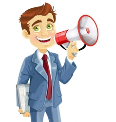 Businessman with tablet pc speaks in megaphone vector