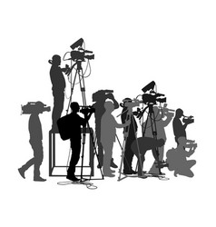 Cameraman crew follows event silhouette isolated vector