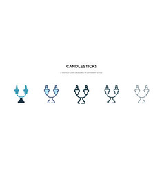 Candlesticks icon in different style two colored vector