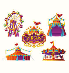 Carnival circus icons with a tent carousels vector