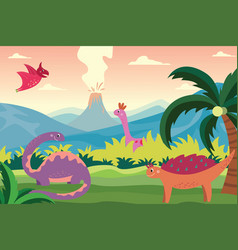 cartoon dinosaurs in summer landscape background vector image