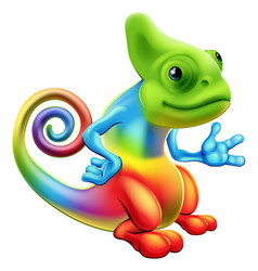 cartoon rainbow chameleon vector image