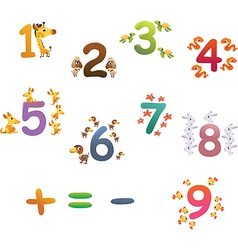Collection of animals number for children vector