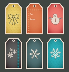 Colorful holiday winter gift tag template vector
