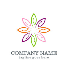 Colorful leaf beauty logo design vector