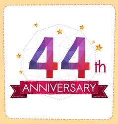 Colorful polygonal anniversary logo 2 044 vector