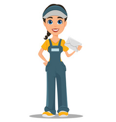 Courier woman holding white envelope professional vector