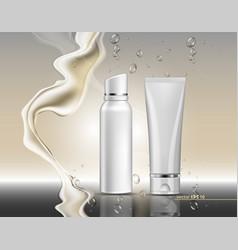 Cream cosmetics with splash realistic vector