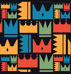 crown pattern cute color style vector image