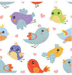 cute colorful birds seamless pattern design vector image