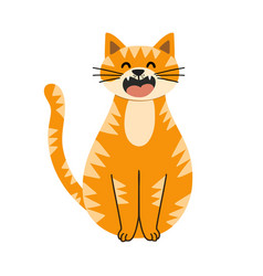 cute red cat character sitting with eye closed vector image