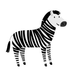 Cute zebra cartoon animal icon vector