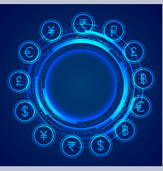 digital global currency icons concept background vector image