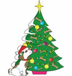 doggie Christmas tree vector image