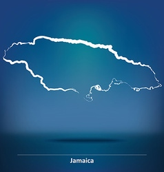 Doodle Map of Jamaica vector image