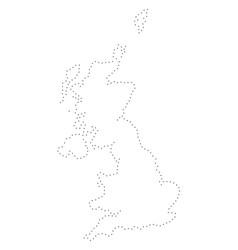 dot stroke united kingdom map vector image