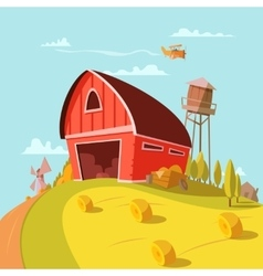 Farm Building Cartoon Background vector