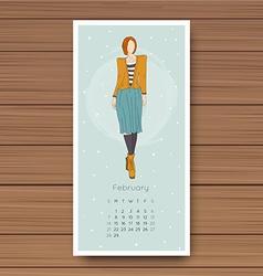 February Hand drawn fashion models calendar 2016 vector
