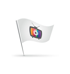 flag with old tv icon vector image