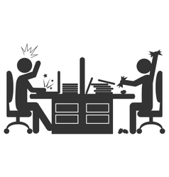Flat office icon with angry workers isolated on vector