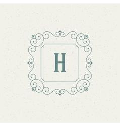 Flourishes calligraphic monogram emblem template vector image