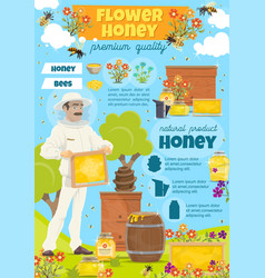 Flower honey in jars and barrels at apairy poster vector