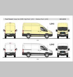Ford transit cargo van l2h2 and l2h3 2014-present vector