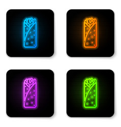 glowing neon burrito icon isolated on white vector image