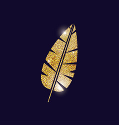 Gold feather plume design vector