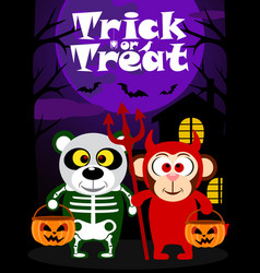 Halloween trick or treating with animal vector