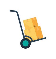 hand truck with cardboard boxes flat colored icon vector image