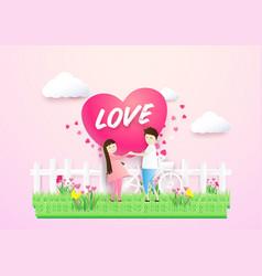 happy couple in love heart shape in a field vector image