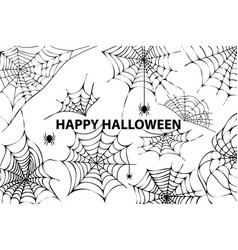 happy halloween cobweb spiders vector image