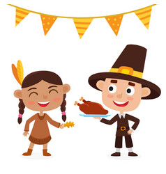 happy thanksgiving day indian girl pilgrim boy vector image