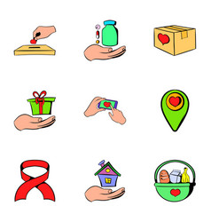 helping icons set cartoon style vector image