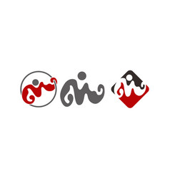 initial letter m muscle fitness set vector image