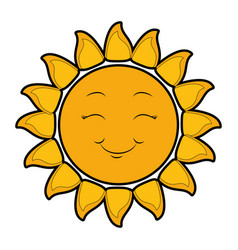 isolated yellow sun face vector image