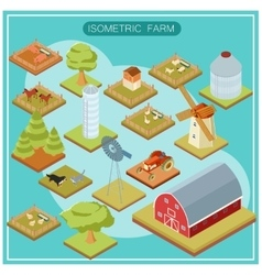 Isometric farm icon set vector image