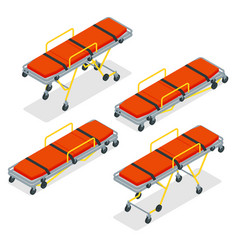 isometric set a gurney or wheeled stretchers vector image