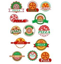 Italian pizza banners emblems and labels set vector
