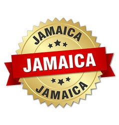 Jamaica round golden badge with red ribbon vector