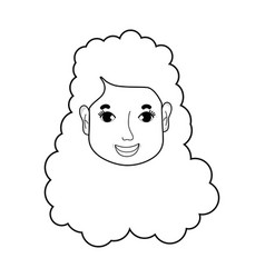 line woman face with hairstyle and expression vector image
