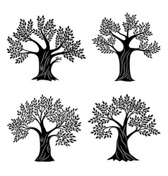 living trees silhouettes minimalistic vector image