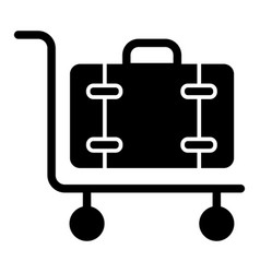 Luggage on cart solid con baggage trolley vector