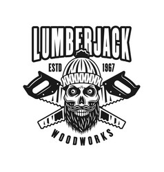 Lumberman skull in knitted hat retro emblem vector