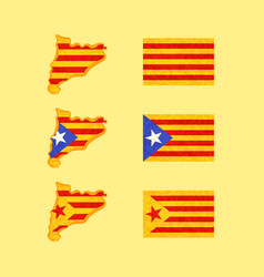 Map and flags of catalonia vector