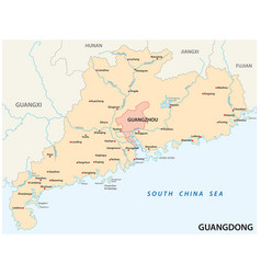 map southern chinese province guangdong vector image
